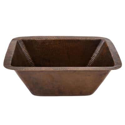 Bronze 16 Gauge Copper 17 in. Undermount Rectangle Bar Sink with 2 in. Drain Opening
