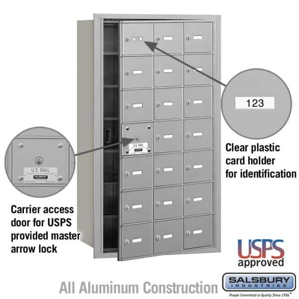 Salsbury Industries Aluminum Usps Access Front Loading 4b Plus Horizontal Mailbox With 21a Doors 20 Usable 3621afu The Home Depot