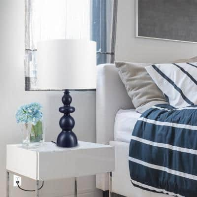 Brooks 25 in. Navy Blue Table Lamp with White Fabric Shade