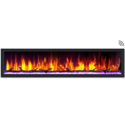 82 in. Cascade Flush-Mount LED Electric Fireplace in Black