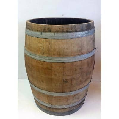 Natural 32 in. H and 27 in. W Oak Wine Barrel Planter