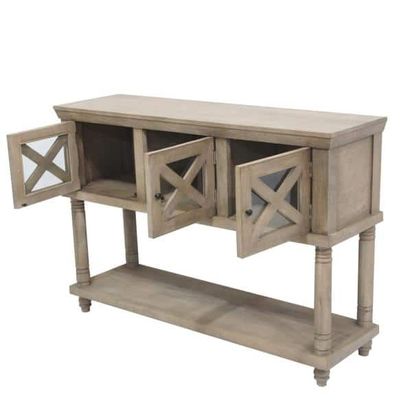 54 In Antique White Standard Rectangle Wood Console Table With 3 Storage Cabinet Gdi020 The Home Depot