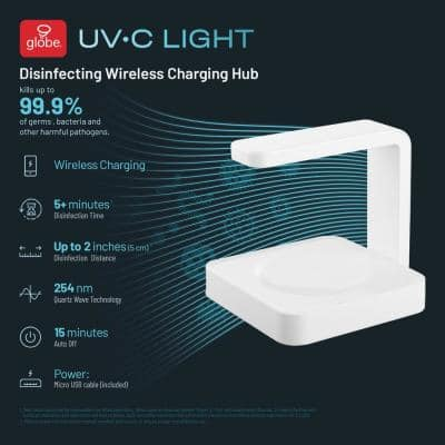 UV-C Light 7 in. White Disinfecting Wireless Charging Hub Lamp with Micro USB Cable Included