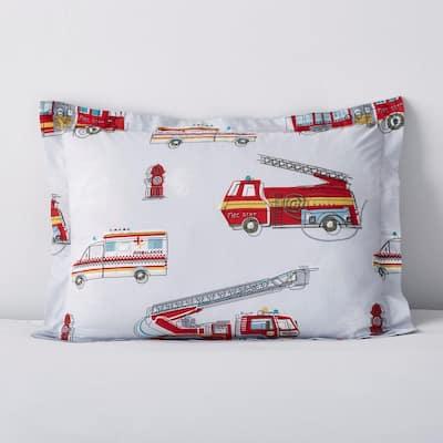 Firetrucks Multicolored Graphic 200-Thread Count Organic Cotton Percale Standard Sham