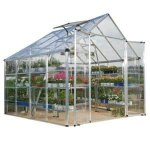 Snap and Grow 8 ft. x 8 ft. Silver Polycarbonate Greenhouse