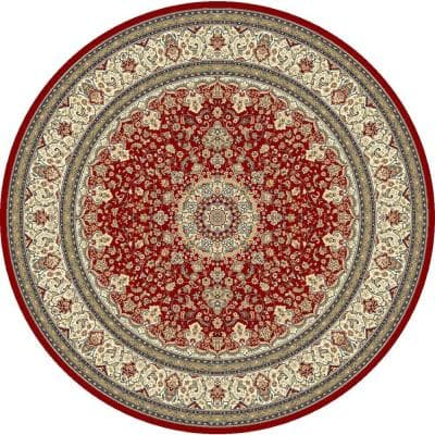 Nicholson Red/Ivory 8 ft. x 8 ft. Round Indoor Area Rug
