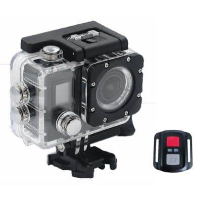 4K Outdoor Sports Cam with Wi-Fi Connectivity and Mountable Remote and Mounting Kit