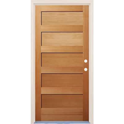 36 in. x 80 in. 5 Panel Shaker Left-Hand/Inswing Unfinished Fir Wood Prehung Front Door