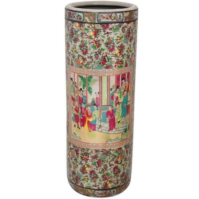 23.5 in. Porcelain Decorative Vase in Red