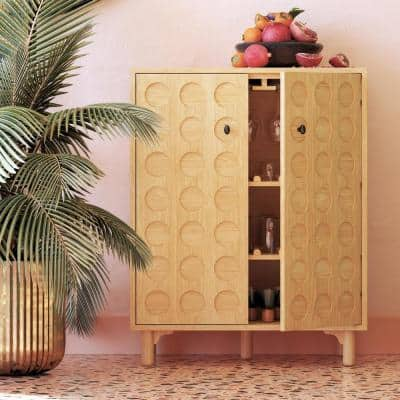 Jovany Light Ash Wood Kitchen Storage Bar Cabinet