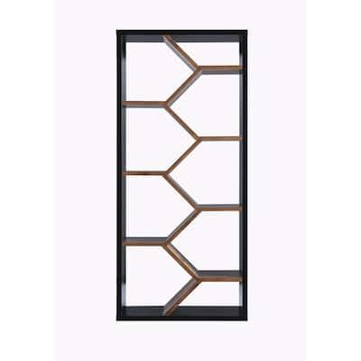 Greta 69 in. Black/Dark Walnut Faux Wood 9-shelf Cube Bookcase with Geometric Design