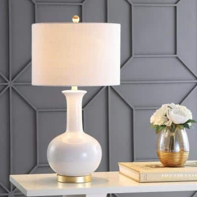 Brussels 27 in. White/Brass Ceramic/Metal LED Table Lamp