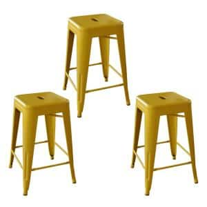 Loft Style 24 in. Gold Stackable Metal Bar Stool (Set of 3)