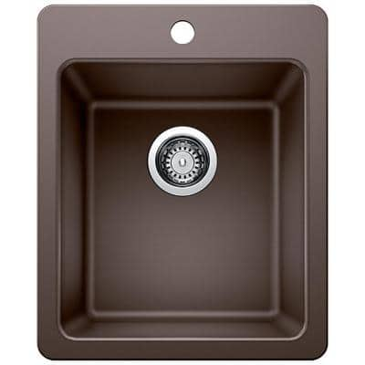 Dual Mount Granite Composite 17 in. Single Bowl Bar Sink in Brown with Faucet