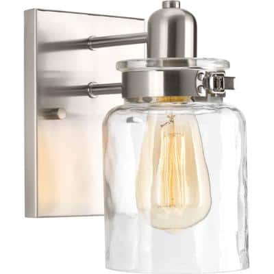 Calhoun Collection 1-Light Brushed Nickel Clear Glass Farmhouse Bath Vanity Light