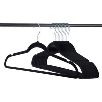 Ultra Thin Black Velvet Clothes Hangers (50-Pack)