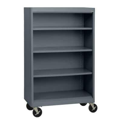 58 in. Charcoal Metal 4-shelf Cart Bookcase with Adjustable Shelves