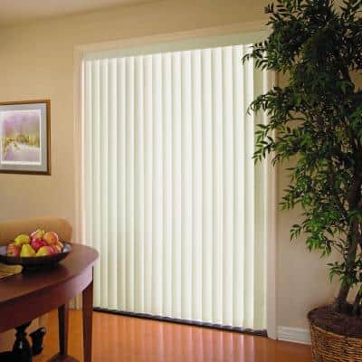 Crown Alabaster Room Darkening 3.5 in. Vertical Blind Kit for Sliding Door or Window - 78 in. W x 84 in. L