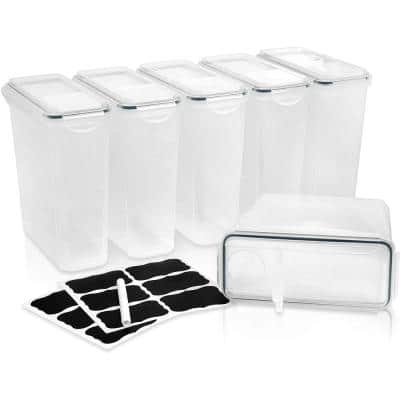 Cereal Containers Storage Set, Basic, Clear, 6-Piece