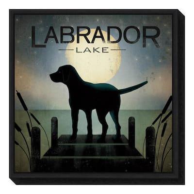 """Moonrise Black Dog - Labrador Lake"" by Ryan Fowler Framed Canvas Wall Art"