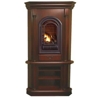 HearthSense Liquid Propane Ventless Gas Tower Corner Fireplace - 20,000 BTU, Cherry Finish