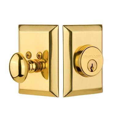 New York Plate 2-3/4 in. Unlacquered Brass Backset Single Cylinder Deadbolt