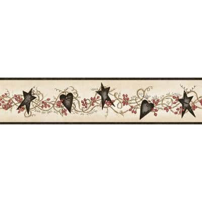 Paxton Black Tin Hearts & Stars Black Wallpaper Border