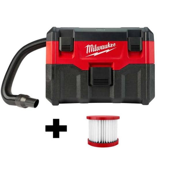 Milwaukee M18 18-Volt 2 Gal. Lithium-Ion Cordless Wet/Dry Vacuum W/ Extra Wet/Dry HEPA Filter | The Home Depot