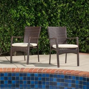 Corsica Multi-brown Wicker Outdoor Dining Chairs with Cream Cushions (Set of 2)
