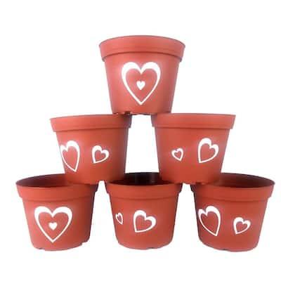 6 in. Hearts Plastic Pots Terra Cotta (6-Pack)