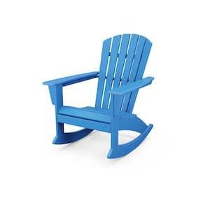 Grant Park Blue Plastic Patio Outdoor Adirondack Rocking Chair