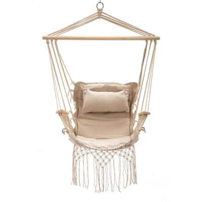 43 in. x 22 in. Hammock Hanging Swing Chair in Cream