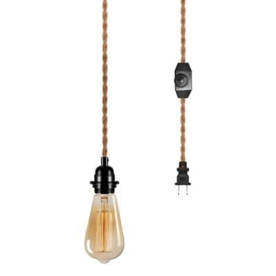 1-Light Golden Vintage Plug-In Hanging Pendant with Hemp Rope and Dimmer Switch