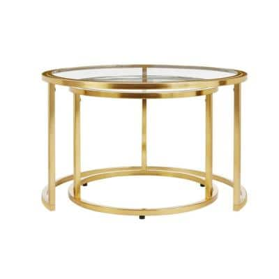 Cheval 2-Piece 30 in. Gold/Glass Medium Round Glass Coffee Table Set with Nesting Tables