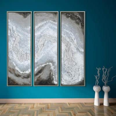 Iced Textured Metallic Hand Painted by Martin Edwards Framed Abstract Triptych Set Canvas Wall Art