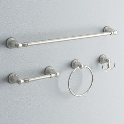 Banbury 4-Piece Bath Hardware Set with 24 in. Towel Bar, Paper Holder, Towel Ring, and Robe Hook in Brushed Nickel