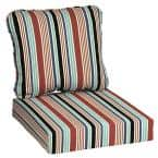 24 in. x 22 in. 2-Piece Hawking Stripe Deep Seating Outdoor Lounge Chair Cushion