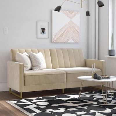 Skylar Ivory Velvet Modern Coil Futon/Sofa Bed