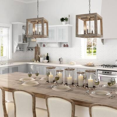 Modern Farmhouse Wooden Chandelier Niki 4-Light Vintage Black Island Chandelier Kitchen Pendant Light