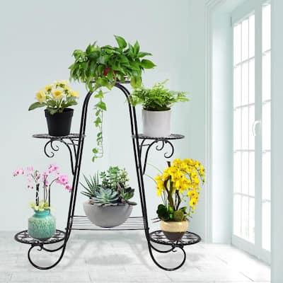 Outdoor/Indoor Black Iron Plant Stand Garden Flower Pot Cart Stand (6-Tiers)