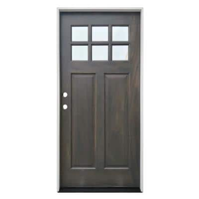 36 in. x 80 in. Ash Right-Hand Inswing 6-Lite Clear  Mahogany Stained Wood Prehung Entry Door with Composite Jamb