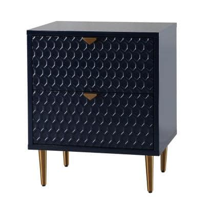 Blue Hexagonal Pattern 2-Drawer Chest of Drawers with Sturdy Metal Golden Legs