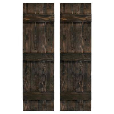 14 in. x 84 in. Wood Traditional Slate Black Board and Batten Shutters Pair