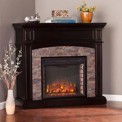 Newburgh 45.5 in. W Faux Stone Corner Electric Media Fireplace in Ebony