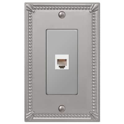 Imperial Bead 1 Gang Phone Metal Wall Plate - Brushed Nickel