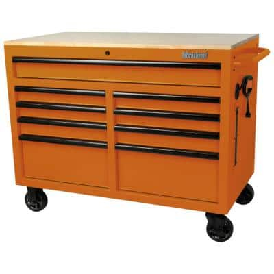 46 in. W x 24.5 in. D 9-Drawer Tool Chest Mobile Workbench with Solid Wood Top in Orange