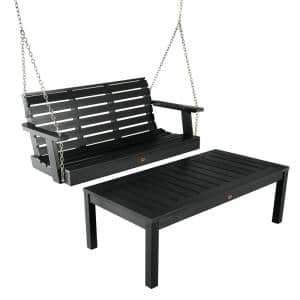 Weatherly Black 4 ft. Plastic Porch Swing and Coffee Table