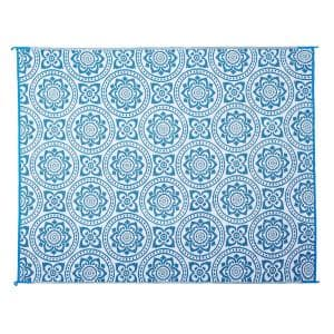 Boho Floral Reversible Mat Turquoise/White 8' x 10' Virgin Polypropylene Mat with UV Protection