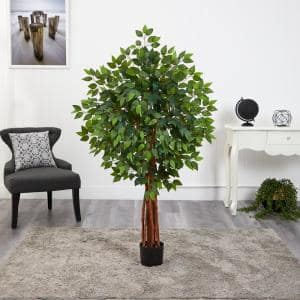 4.5 ft. Super Deluxe Ficus Artificial Tree with Natural Trunk