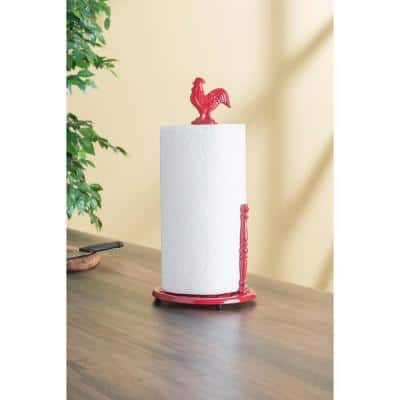 Cast Iron Red Rooster Paper Towel Holder